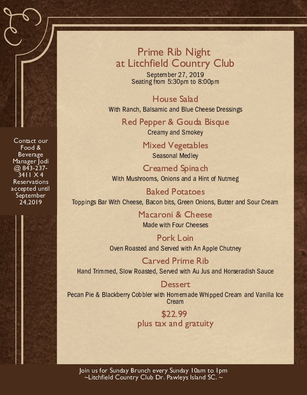 Image: Prime Rib Night at Litchfield Country Club