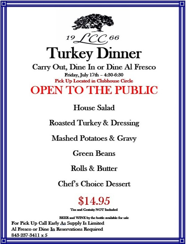 Image: Litchfield Country Club Turkey Dinner